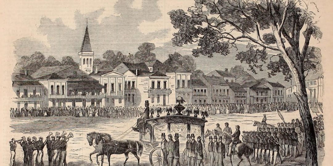 The funeral procession of Captain Andre Cailloux on July 29, 1863 in New Orleans is seen in this sketch by a Louisiana Native Guard soldier published in Harper's Weekly August 29, 1863. The funeral for the black Civil War hero killed at Port Hudson, Louisiana was the largest procession New Orleans had seen and included 37 mural aid societies including a group of free people of color called the Societe d'Economie or Society of Economy that met at Economy Hall. The horse-drawn hearse was provided by Economy Hall's president and another member was a pallbearer for Cailloux. The 42nd Massachusetts, a white Union regiment that served at Port Hudson and New Orleans under Major General Banks, played valved brass instruments that were invented a few decades earlier in the 1800s. The Union army controlled New Orleans after the Confederates abandoned the city without a fight in May 1862.